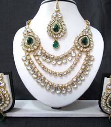 Buy Two Brooch 3 Line Green Stone Wedding Necklace Set necklace-set online