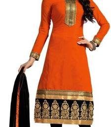 Buy Orange cotton embroidered semi stitiched salwar with dupatta cotton-salwar-kameez online