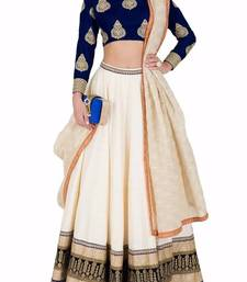 Buy off white banglori embroidery unstitched lehenga choli lehenga-below-1000 online