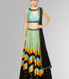 Buy Turquoise banglori silk digital printed unstitched lehenga choli navratri-lehenga-chaniya-choli online