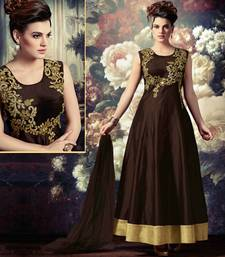 Buy Brown art silk embroidered semi stitched salwar with dupatta salwars-and-churidar online