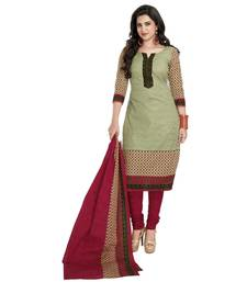 Buy Green poly cotton printed unstitched salwar with dupatta cotton-salwar-kameez online
