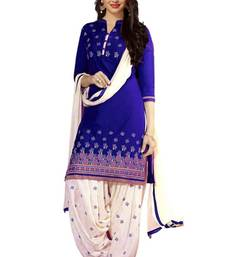 Buy Blue poly cotton printed unstitched salwar with dupatta cotton-salwar-kameez online