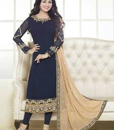 Buy Blue georgette embroidered semi stitched salwar with dupatta ayesha-takia-salwar-kameez online