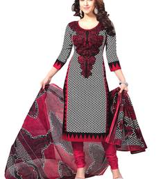 Buy Black and white american crepe printed semi stitiched salwar with dupatta pakistani-salwar-kameez online