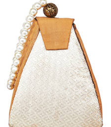 Buy Peach color pure silk fancy potli with pearl handle potli-bag online