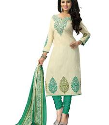 Buy Cream american crepe printed semi stitiched salwar with dupatta salwar-kameez-below-2000 online