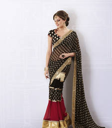 Buy Black Faux Georgette Saree georgette-saree online