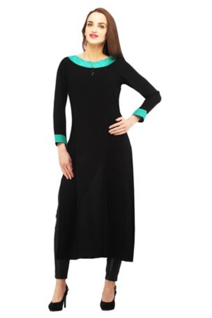 Buy Black Rayon Plain Stitched Kurti Online