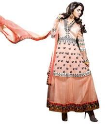 Buy Vishal Orange Soft Net Georgette Santoon Semi Stitch Dress ExoticAffair2609 anarkali-salwar-kameez online