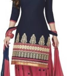 Buy Blue georgette embroidered semi stitched salwar with dupatta salwars-and-churidar online
