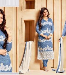 Buy Grey georgette embroidered semi stitched salwar with dupatta ayesha-takia-salwar-kameez online