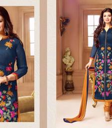 Buy Nevyblue georgette embroidered semi stitched salwar with dupatta ayesha-takia-salwar-kameez online