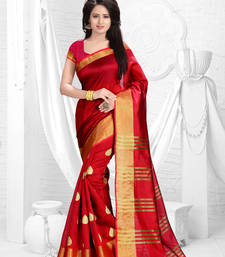 Buy Red printed dupion saree with blouse dupion-saree online