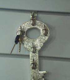 Buy Key holder in key shape in silver plated . Muhenera presents athish collection - 514 wall-art online