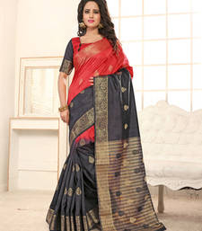 Buy Black plain banarasi silk saree with blouse banarasi-silk-saree online