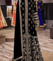 Buy Black art silk embroidered semi stitched salwar with dupatta collar-neck-design online