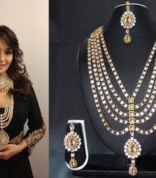 Buy Golden stone diamond necklace sets necklace-set online