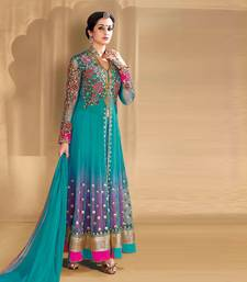Buy Light blue georgette embroidered semi stitched salwar with dupatta anarkali-salwar-kameez online
