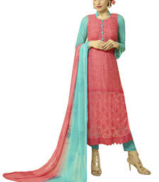 Buy Dark pink georgette embroidered semi stitiched salwar with dupatta pakistani-salwar-kameez online