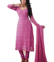 Buy Pink georgette embroidered semi stitiched salwar with dupatta pakistani-salwar-kameez online