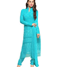 Buy Light blue georgette embroidered semi stitiched salwar with dupatta eid-special-salwar-kameez online