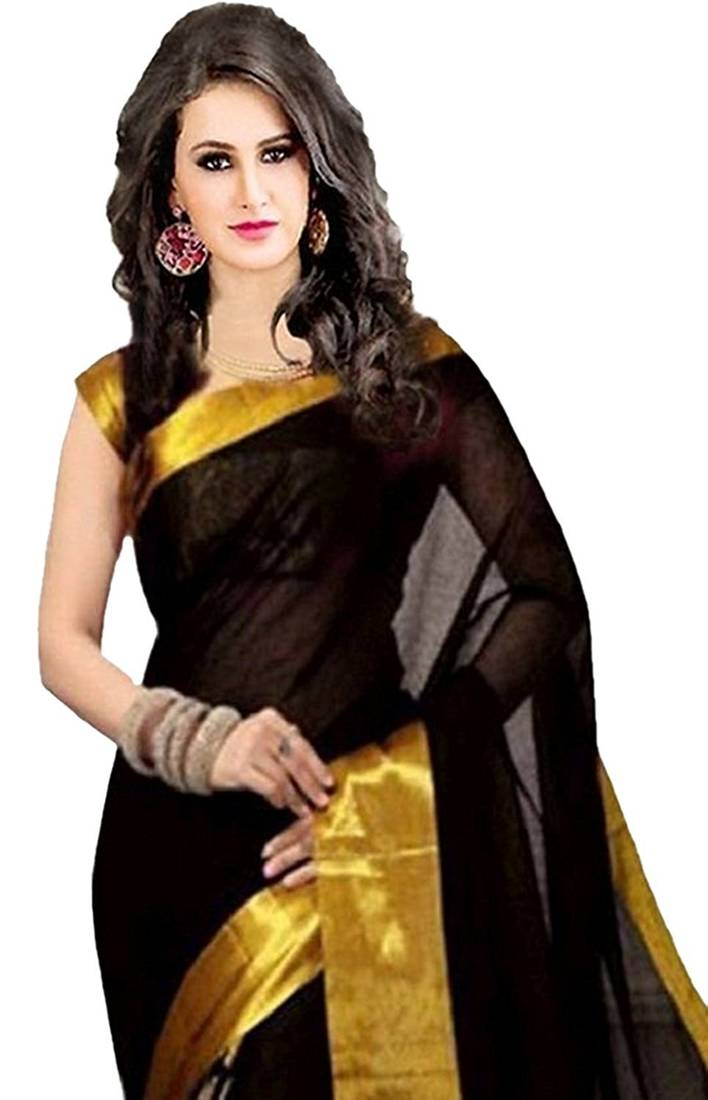 Buy Black Golden Goli With Embroidery Work Cotton Saree Online