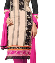 Buy Cream chanderi embroidered semi stitched salwar with dupatta salwars-and-churidar online