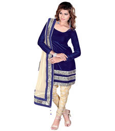 Buy Navy blue&cream velvet sequence semi stitched salwar with dupatta salwars-and-churidar online