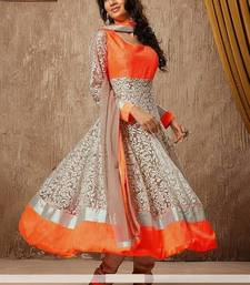 Buy orange net embroidered semi stitched salwar with dupatta hot-deal online