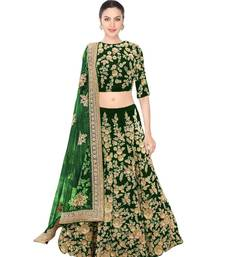 Buy Green Velvet Embroidered semi stitched lehenga choli navratri-lehenga-chaniya-choli online