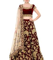 Buy Maroon Velvet Embroidered semi stitched lehenga choli navratri-lehenga-chaniya-choli online