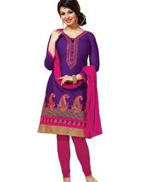 Buy Purple and pink embroidered cotton unstitched salwar with dupatta ayesha-takia-salwar-kameez online