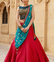 Buy Dark blue and red embroidered banglori silk unstitched lehenga choli lehenga-choli online
