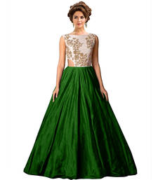 Buy Green art Silk Semi Stitched Gown party-wear-gown online