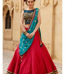 Buy red embroidered art silk unstitched lehenga navratri-lehenga-chaniya-choli online