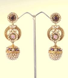 Buy Gorgeous Gold Pearl with wine stones Earring  gifts-for-her online