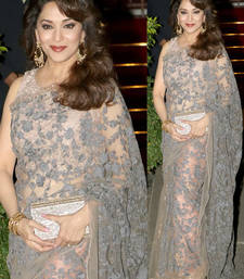 Buy Beige embroidered net saree with blouse madhuri-dixit-saree online