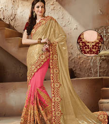 Buy Gold embroidered net saree with blouse net-saree online