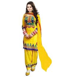Buy Yellow cotton embroidered unstitched salwar with dupatta punjabi-suit online