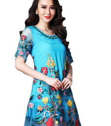 Buy New Arrival Designer Attractive and Fancy Blue Color Kurti eid-kurti online