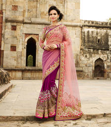 Pink embroidered net saree with blouse shop online