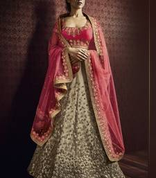 Buy beige embroidered net unstitched lehenga bridal-lehenga online