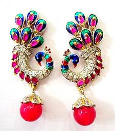 Buy BEAUTIFUL STONE STUDDED PEACOCK DESIGN HANGINGS IN VICTORIAN STYLE stud online