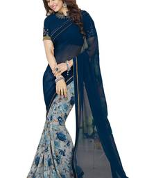 Buy Blue printed faux_georgette saree With Blouse designer-embroidered-saree online