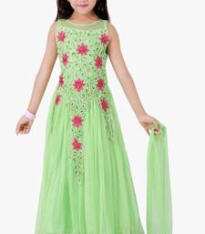Buy green embroidered kids frocks11-14 years kids-frock online