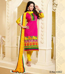 Buy Chanderi Cotton Pink And Yellow Unstitched Dress dress-material online