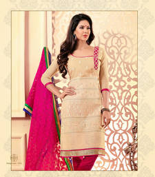 Buy Beautiful Cream And Pink Chanderi Cotton Salwar kameez dress-material online