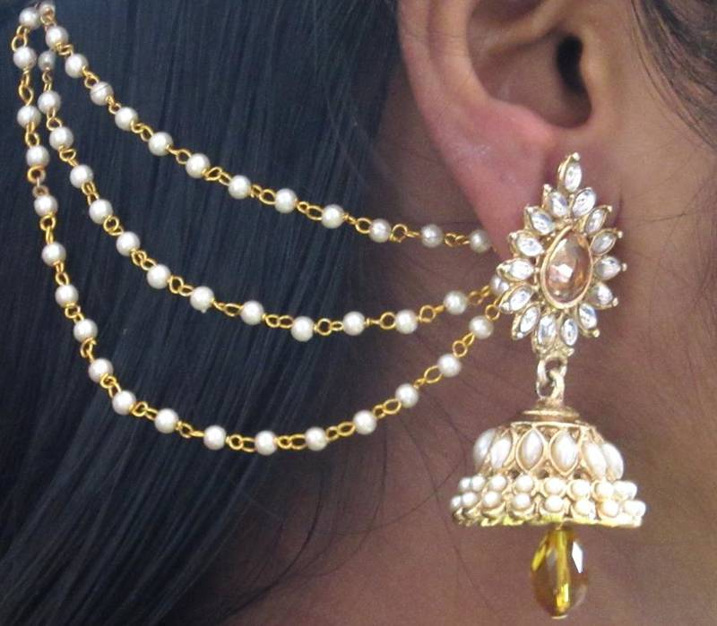 Buy Yellow Drop Jhumka With Pearl Ear Chain Earring Online