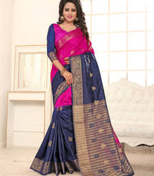Buy Magenta plain banarasi silk saree with blouse banarasi-silk-saree online